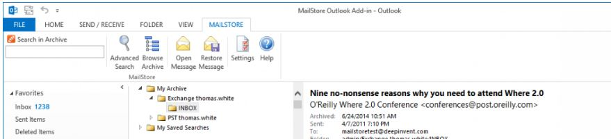 Mailstore outlook add-on
